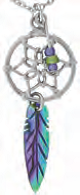 Paua Shell Necklace - Dream Catcher with Feather