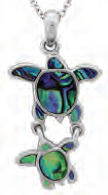 Paua Shell Necklace - Double Sea Turtle