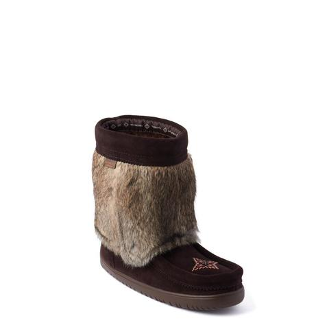 Waterproof Suede Half Mukluk (Dark Brown with Light Fur)