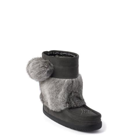 Waterproof Short Snowy Owl Suede Mukluk (Charcoal)