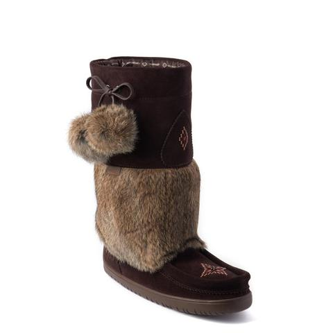 Snowy Owl Waterproof Suede Mukluk (Dark Brown with Light Fur)