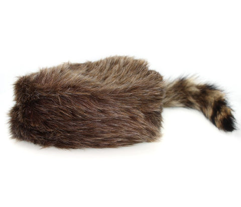 Kid's Authentic Rabbit Fur Hat with Raccoon Tail