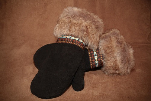 Fur & Braid Deer Suede Mitt (Black)