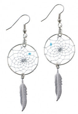 "1"" Dream Catcher Earrings w/ Metal Feather"