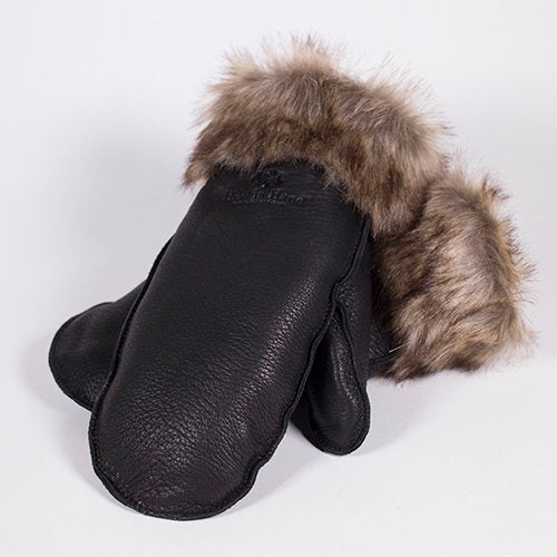Deerskin Leather Mitt w/ Fur (Black)