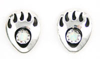 Mini Bear Paw Opal Stud Earrings