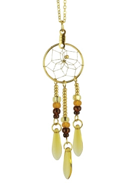 ".75"" Dream Catcher Glass Bead Necklace - Topaz"