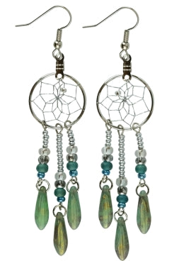 ".75"" Dream Catcher Glass Bead Earrings - Turquoise"
