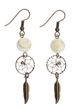".5"" Dream Catcher Earrings - Mother of Pearl"