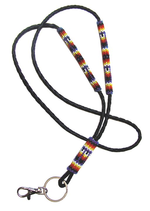 """Peyote Stitch Beaded Lanyard on Bolo Cord"""