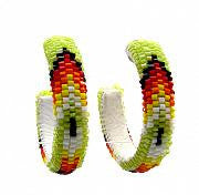 Beaded Hoop Earrings - Feather Pattern (3 cm)