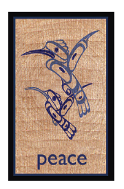 Wood Rectangle Magnet - Hummingbirds (Peace)