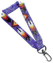 Beaded Loom Cutglass Wrist Lanyard (Feather Design)