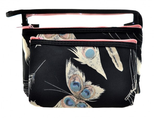 Black Feather Makeup Bag Set