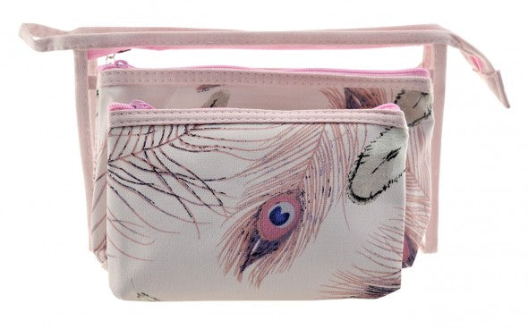 Pink Feather Makeup Bag Set