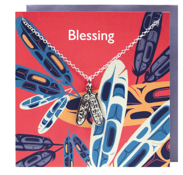 Pewter Charm Greeting Card - Eagle Feathers