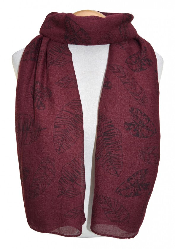 Dark Red Leaf Scarf