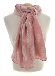 Pink Feather Scarf