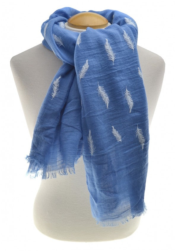 Blue Feathers Scarf