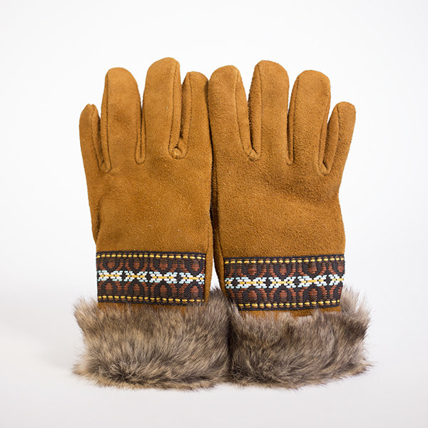 Fur & Braid Deer Suede Glove (Saddle Tan)