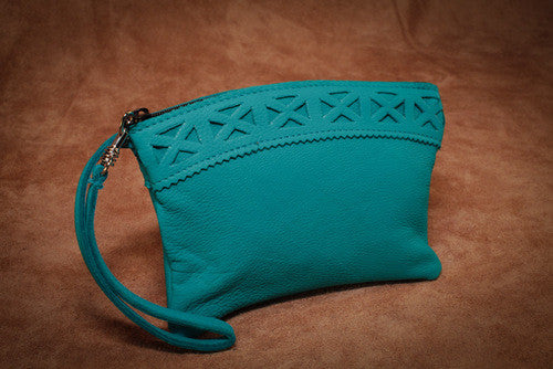 Decorative Trim Wristlet Purse (Turquoise)