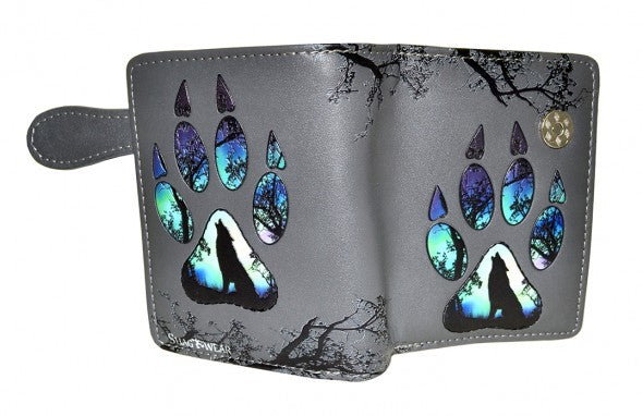 Grey Wolf Paw Print Wallet (Small)