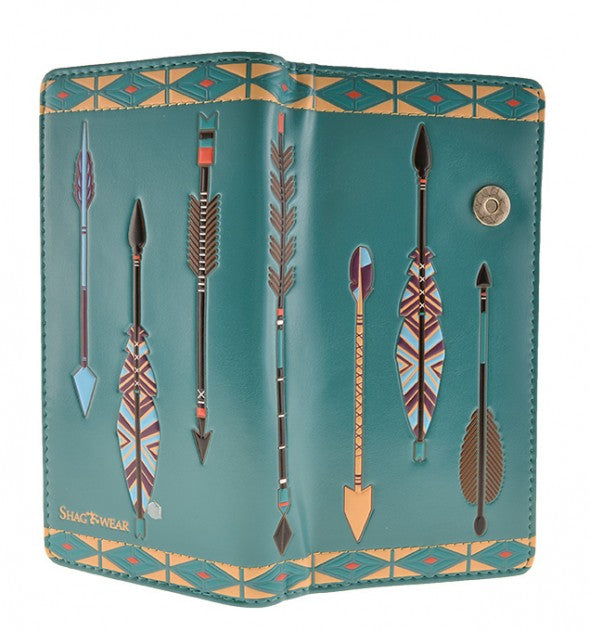 Teal Arrow Pattern Wallet (Large)