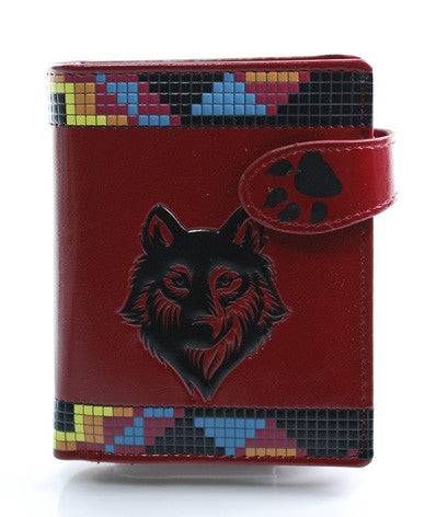 Native Wolf Red Wallet (Small)