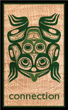 Wood Rectangle Magnet - Frog (Connection)