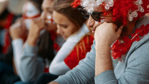 Sports fan upset at game