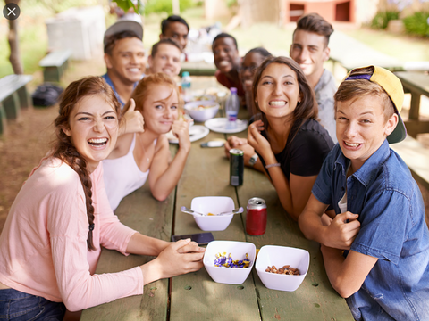 Teenagers at a picnic table