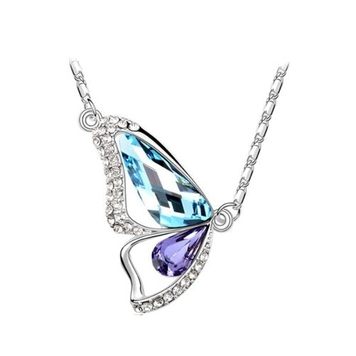 Aquamarine and Tanzanite (Blue and Purple) - Breaking cocoon silver necklace with Swarovski crystal elements