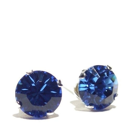 Sterling silver unisex studs earrings 2 carat swarovski crystal - blue sapphire