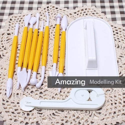 10 Piece cake modelling decorating tool kit with fondant cutter & Embosser