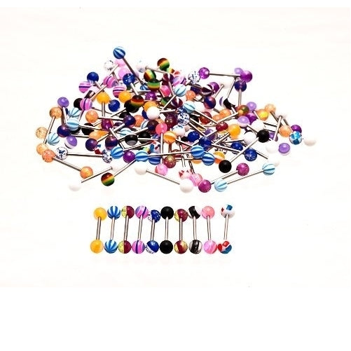 100 pcs Stainless steel tongue bars 20mm mixed Colours for Piercing