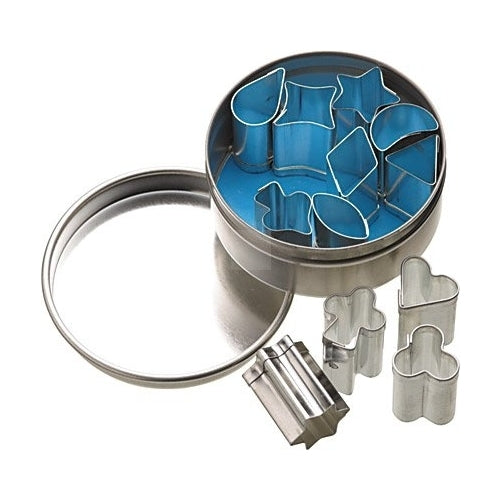 Set of 12 mini metal Cookie/Icing Cutters (1.5cm) in storage tin
