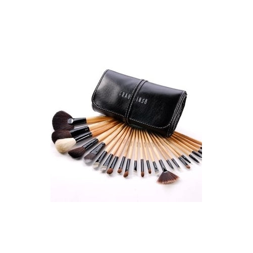 24 Professional Wooden Sable Makeup Brush Set with Case