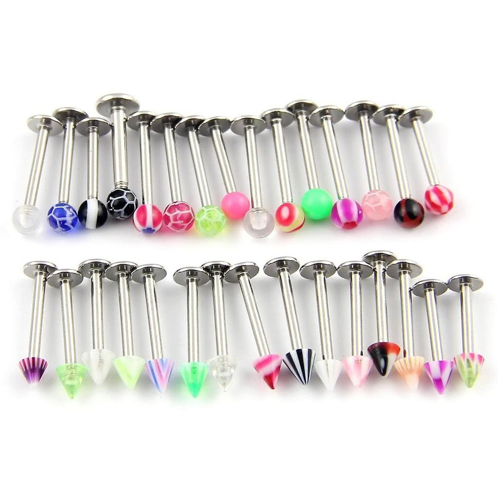 20 Ball & Spike 10mm Lip Studs - Assorted Colour Tragus Monroe Labret Gift