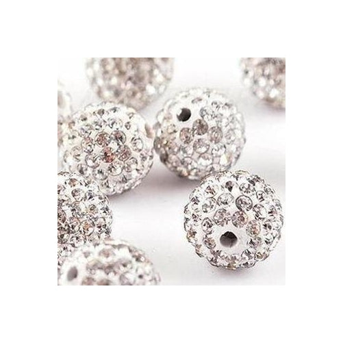 10 pcs Wholesale 10mm White Shamballa Crystal Pave Clay Disco Ball/Beads Czech