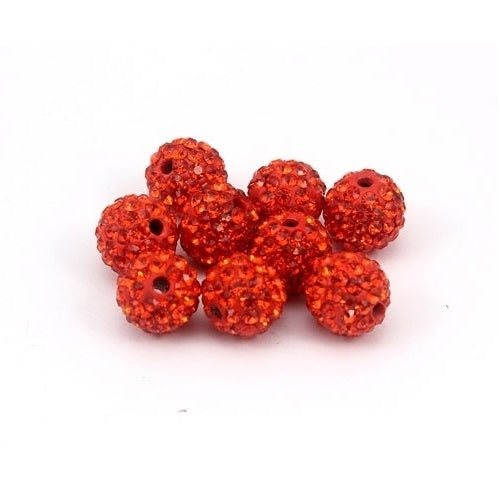 10 pcs Wholesale 10mm Orange Shamballa Crystal Pave Clay Disco Ball/Beads Czech