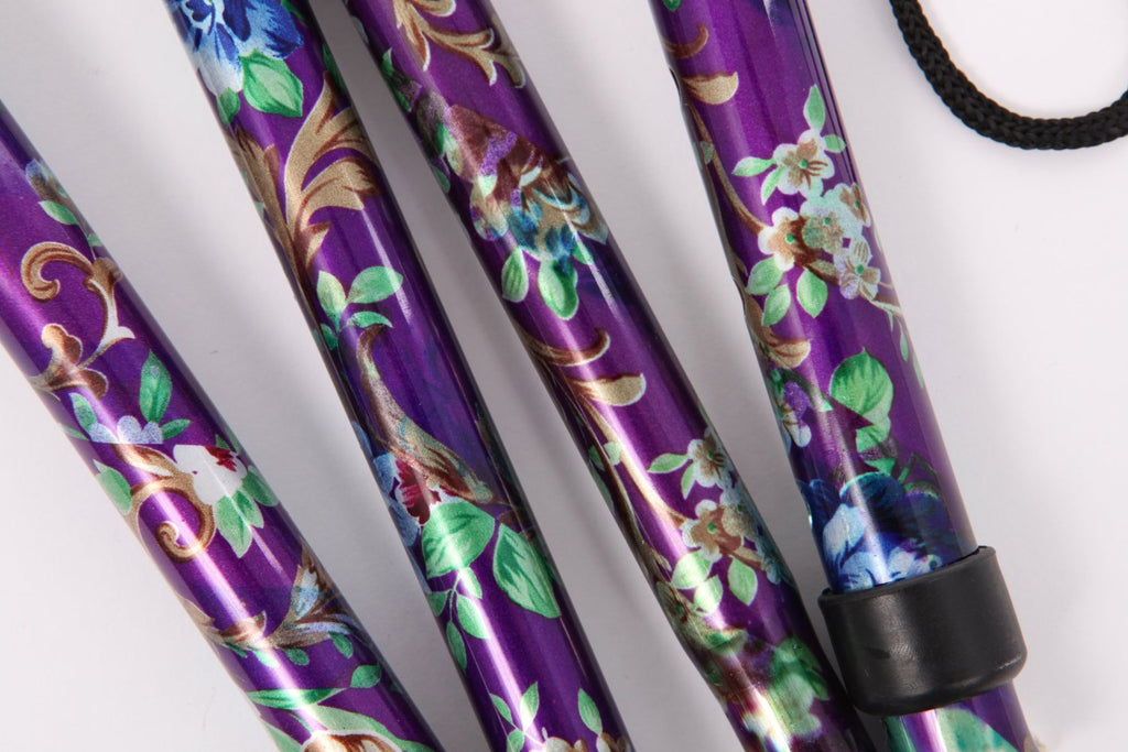 Lightweight Foldable Compact Walking Stick - Purple Floral