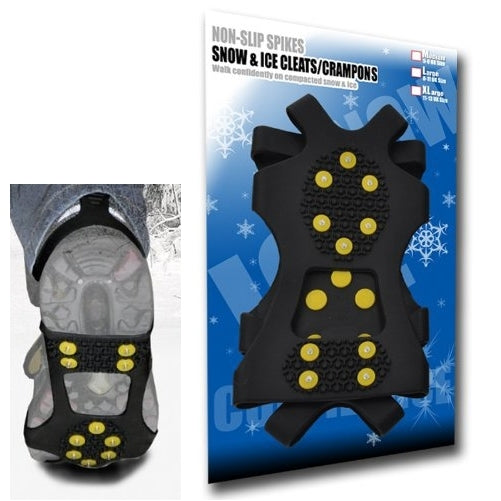 Large - Ice Traction Universal Slip-on Stretch fit Snow & Ice Spikes (Grips, Crampons, Cleats) - 10 studs - Large
