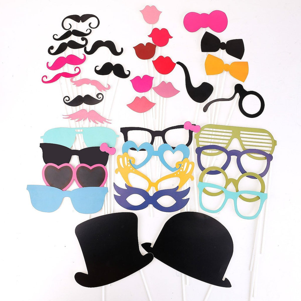 36 pcs Colorful Props On A Stick Mustache Photo Booth Party Fun Wedding Christmas Birthday