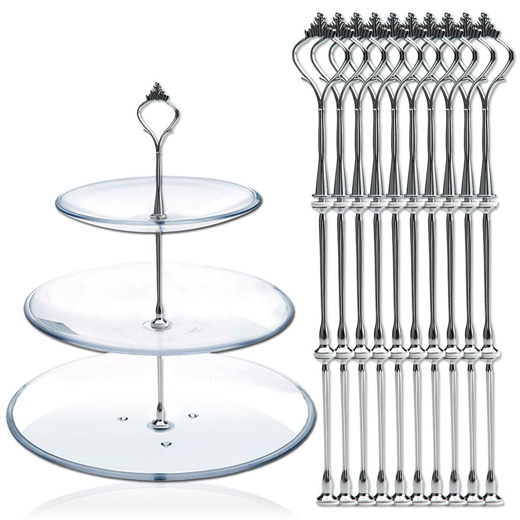 10 x Sets 2 or 3 Tier Cake Plate Stand Fittings Silver Plate Stands