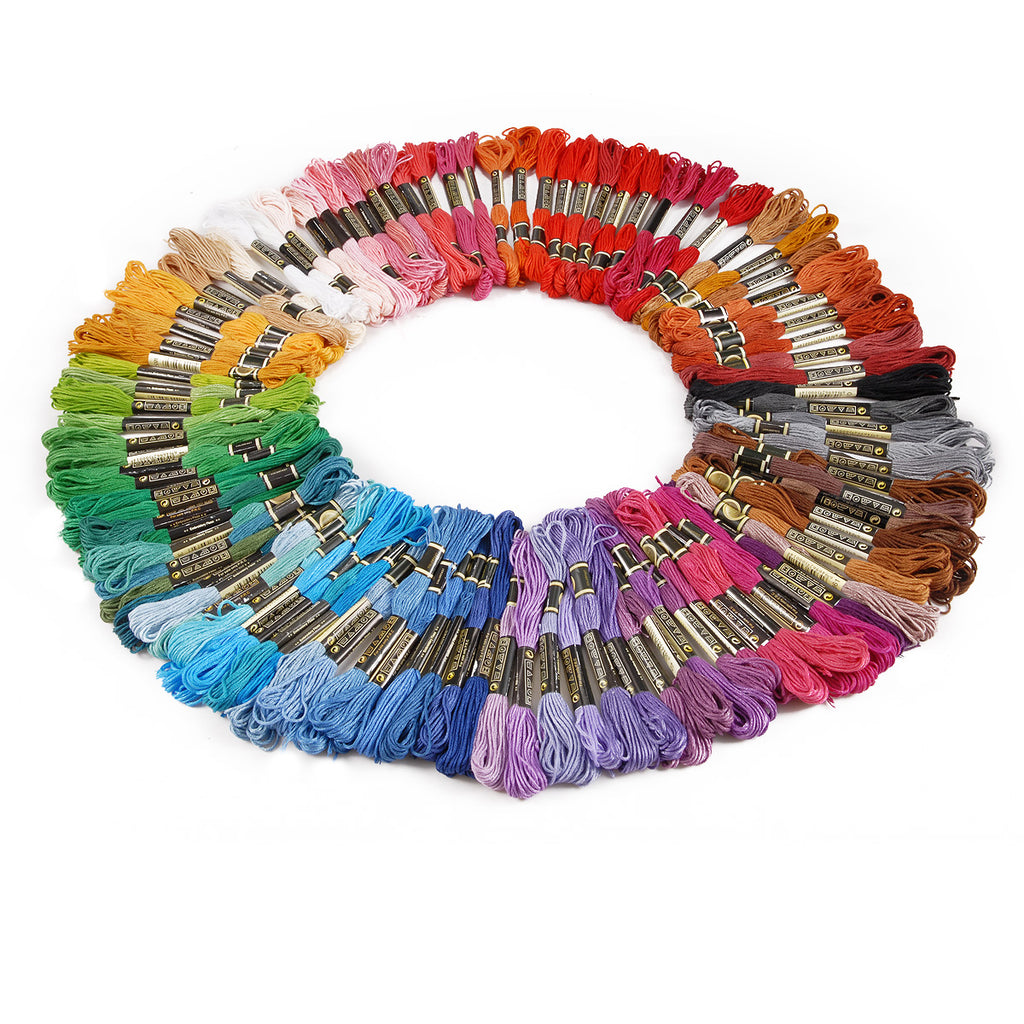 150 pieces of Mixed Colours Thread Skeins Floss 100% Cotton - for Embroidery, Sewing