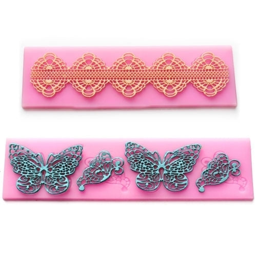 Lace 2pcs Silicone Mold Mould Sugar Craft Cake Fondant Cake Decorating Butterfly #606