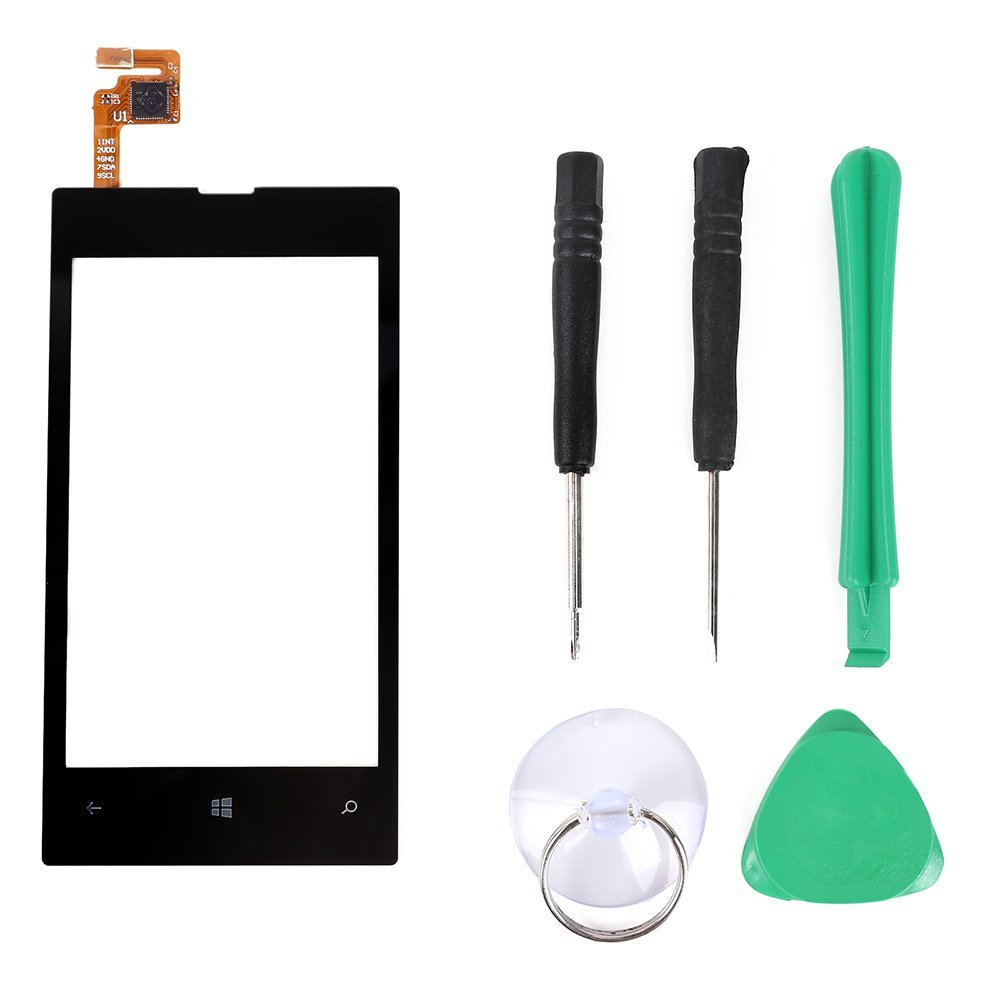 For Nokia Lumia 520 Black Touch Screen Glass Digitizer Replacement Repair Part Lens Cover + 5 Tool (Screwdriver 2PCS + Green Plastic Pry Lifter 1PCS +