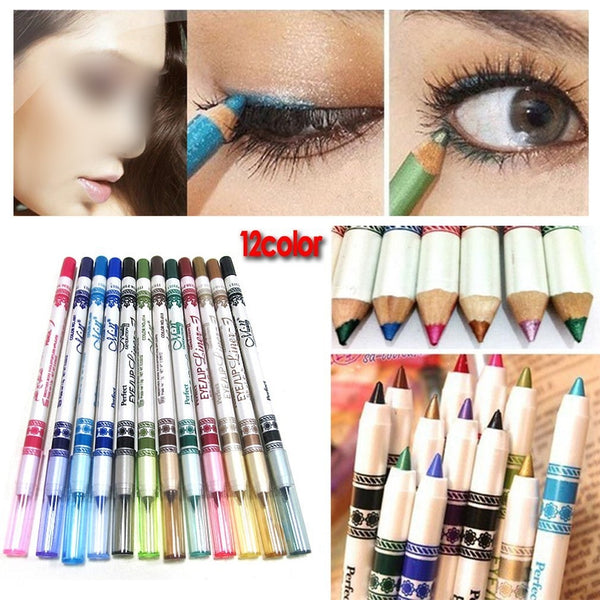 12x Set of Color Glitter Eyeliner Pencils, Eyeliner Lipliner, Browliner, Cosmetic Makeup Set