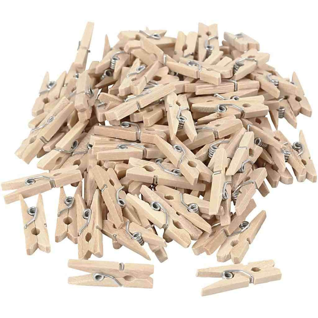 100 pcs 25 mm wooden miniclip herring clothespin| For art, photos, DIY, decoration, parties, bedroom