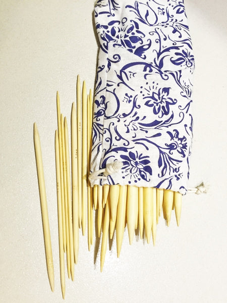 "80 pieces of 20cm/8"" Bamboo Knitting Needles (2mm-12mm) Double Point with Case - Crochet"